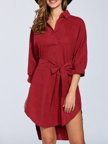 Self Tie Shirt Dress - Wine Red