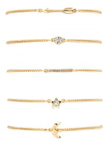 Rhinestone Moon Arrow Pentagram Bracelet Set - Golden