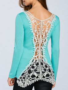 Hook Flower Spliced Long Sleeve T-Shirt - Light Green M