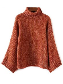 Marled Oversized Dolman Sweater - Orange + White