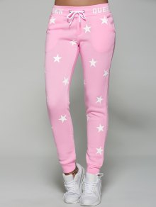 Star Print Sporty Pants - Pink