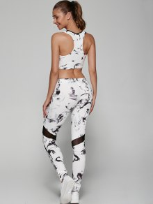 Abstract Sporty Bra with Mesh Leggings - WHITE S