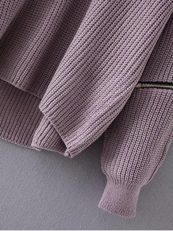 Cut Out Chunky Choker Sweater - LIGHT PURPLE ONE SIZE Mobile