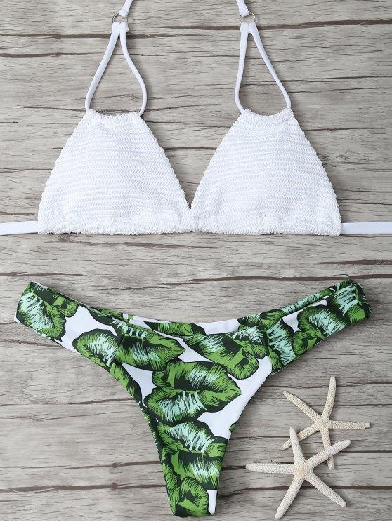 Ensemble Bikini rembourré Feuille imprimée - Blanc S