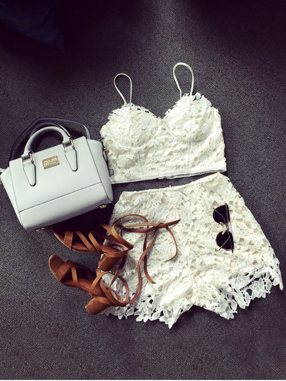shop Lace Bralette Top and Shorts - WHITE S