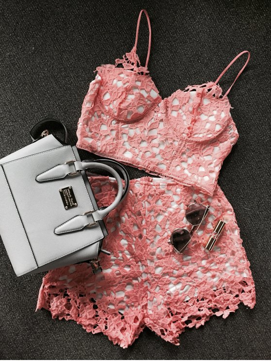 latest Lace Bralette Top and Shorts - ORANGEPINK M
