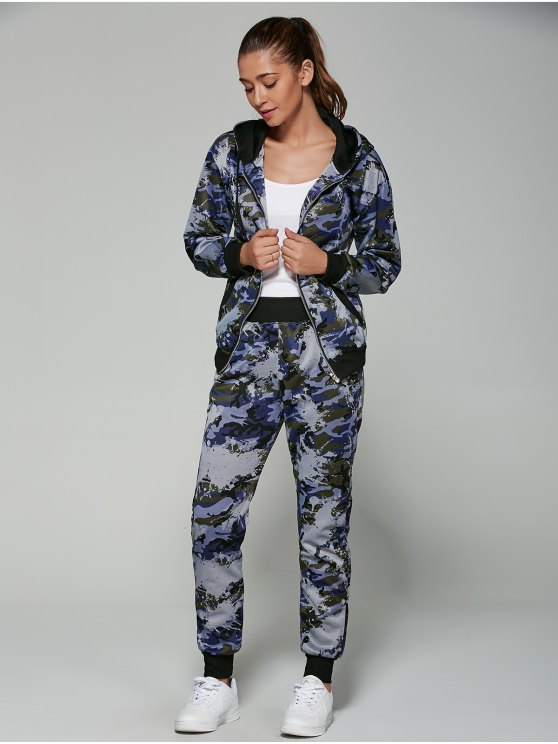 Camo Hooded Sports Suit - NAVY BLUE 2XL Mobile