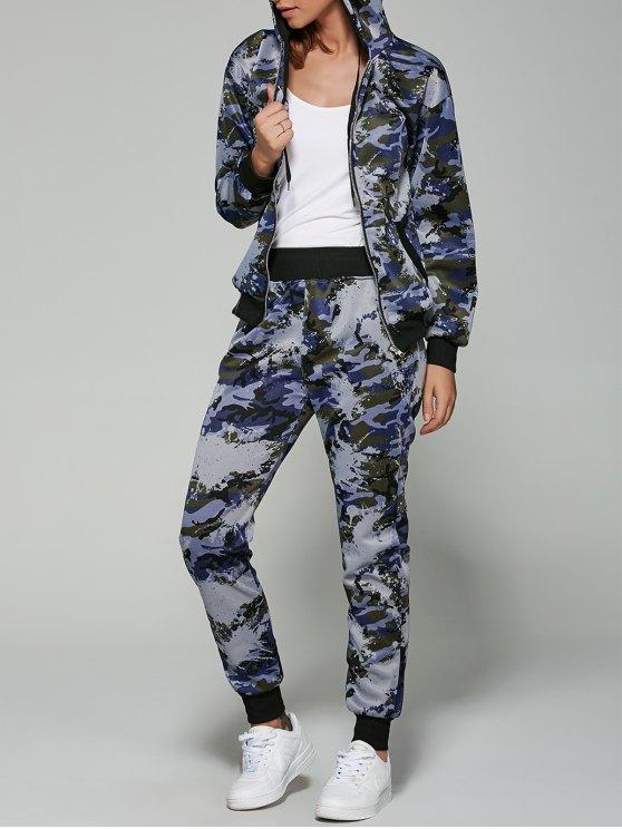 women's Camo Hooded Sports Suit - NAVY BLUE 2XL
