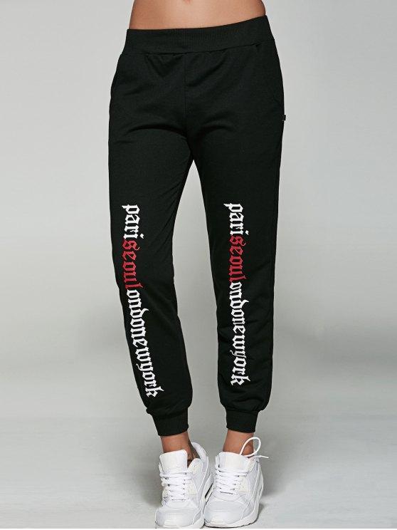 Letter Jogger Pants - BLACK L Mobile