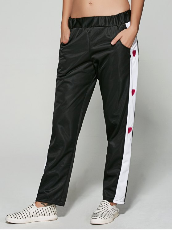 Embroidered Color Spliced Sporty Pants - BLACK M Mobile