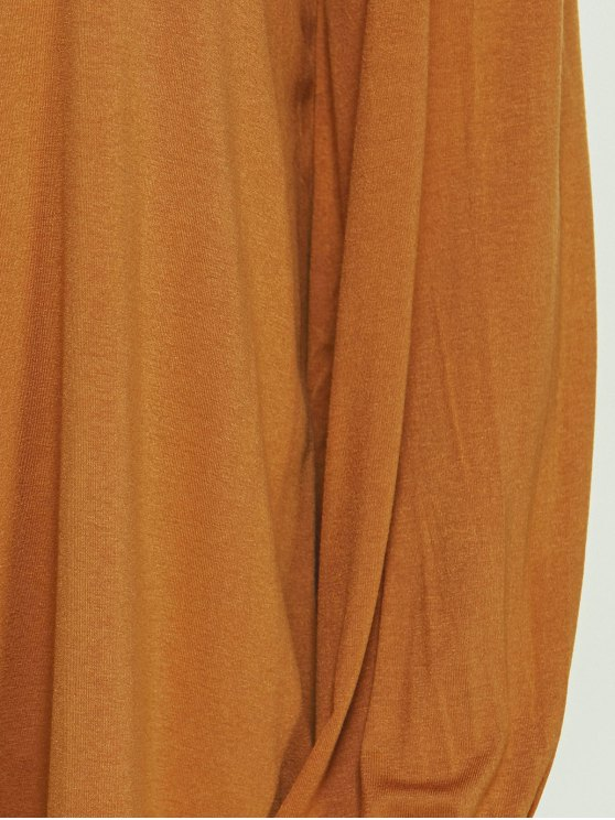 Plunging Neck Loose Fitting High Low T-Shirt - KHAKI S Mobile