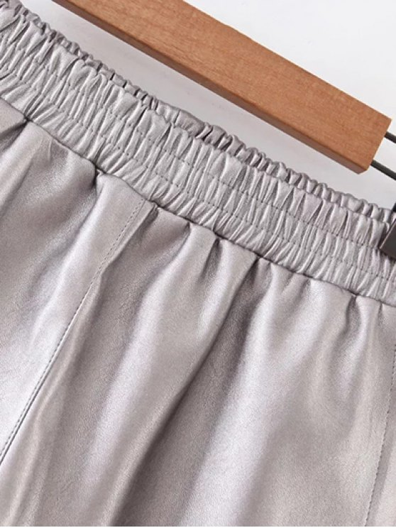 Elastic Waist Faux Leather Shorts - SILVER M Mobile