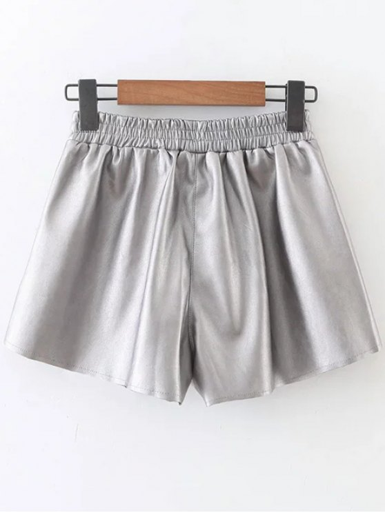Elastic Waist Faux Leather Shorts - SILVER M Mobile