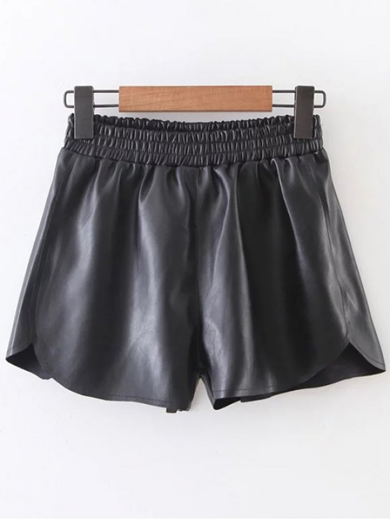 Elastic Waist Faux Leather Shorts - BLACK S Mobile