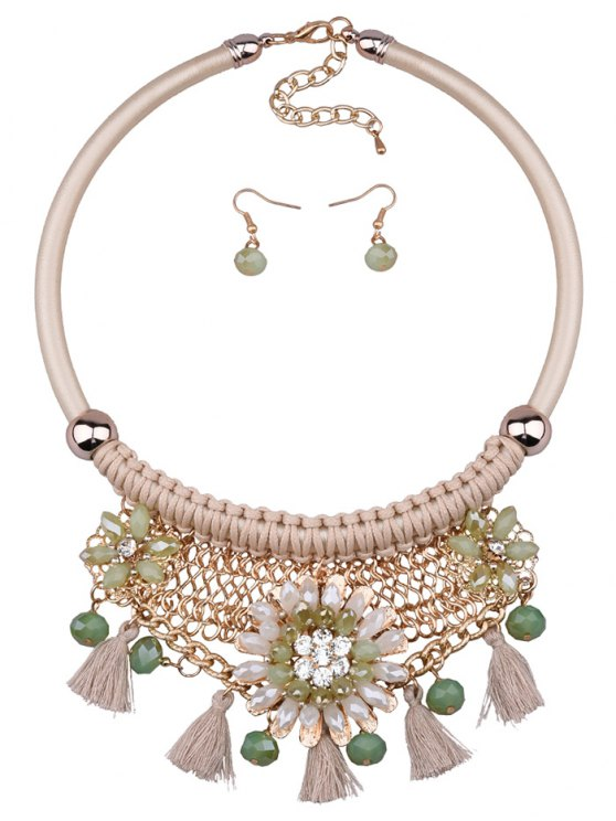 lady Floral Tassel Weaving Faux Crystal Jewelry Set - OFF-WHITE