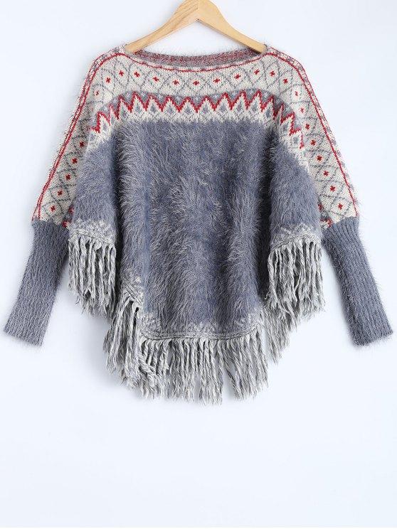 Esponjoso del suéter del Batwing - Rojo+Blanco+Azul Única Talla