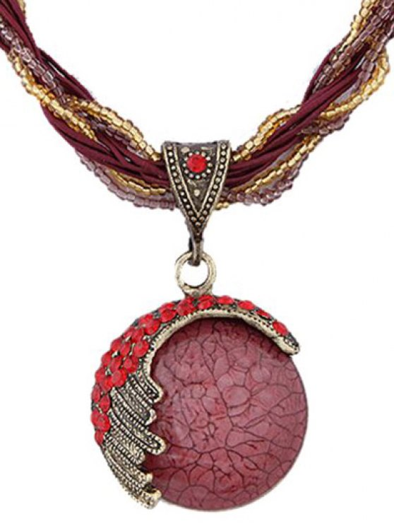 Faux Gem Multilayered Ethnic Style Necklace - RED  Mobile