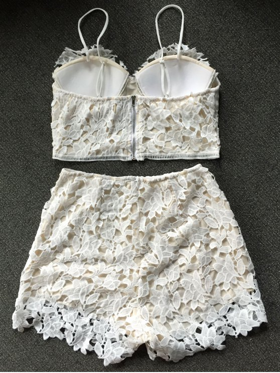 Lace Bralette Top and Shorts - WHITE S Mobile