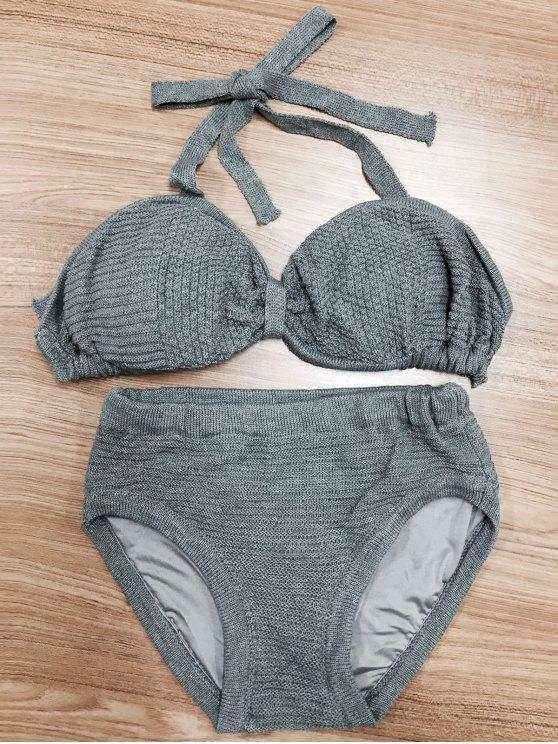 Halterneck arco de punto del bikini - Gris S