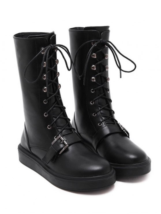 Buckle Platform Lace-Up Mid-Calf Boots - BLACK 39 Mobile
