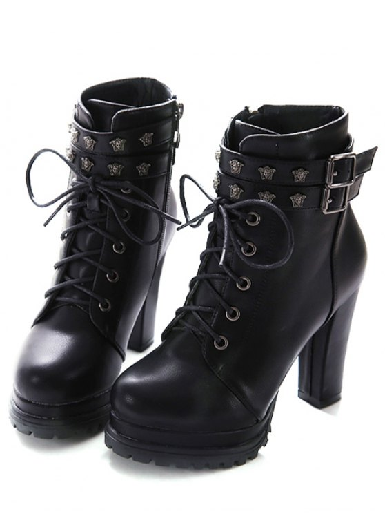 Double Buckle Lace-Up Metal Ankle Boots - BLACK 38 Mobile