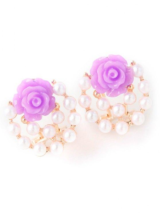 fashion Faux Pearl Floral Rose Earrings - PURPLE