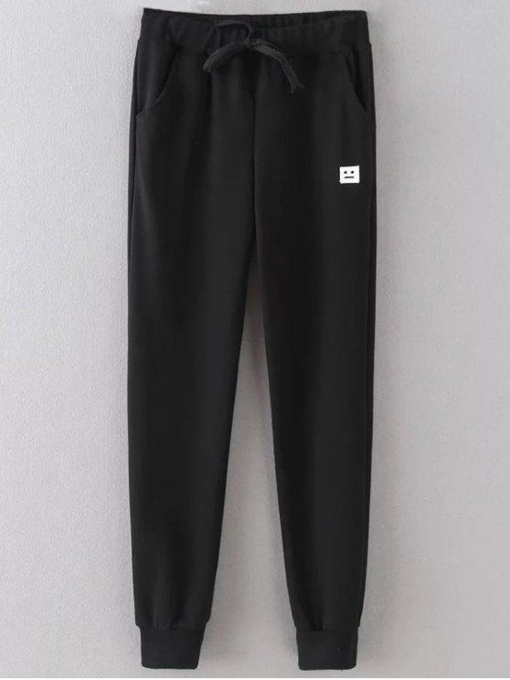 Emoticon Patched Jogging Pants - Noir 2XL