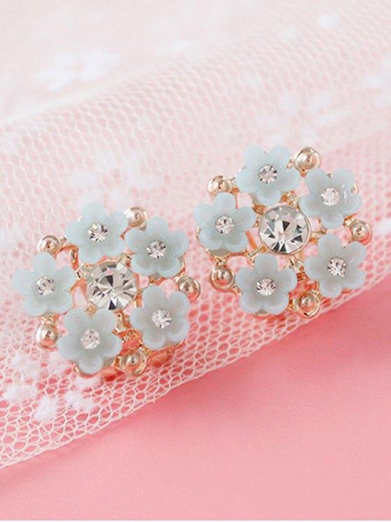 Rhinestone Flower Adorn Earrings - GRAY  Mobile