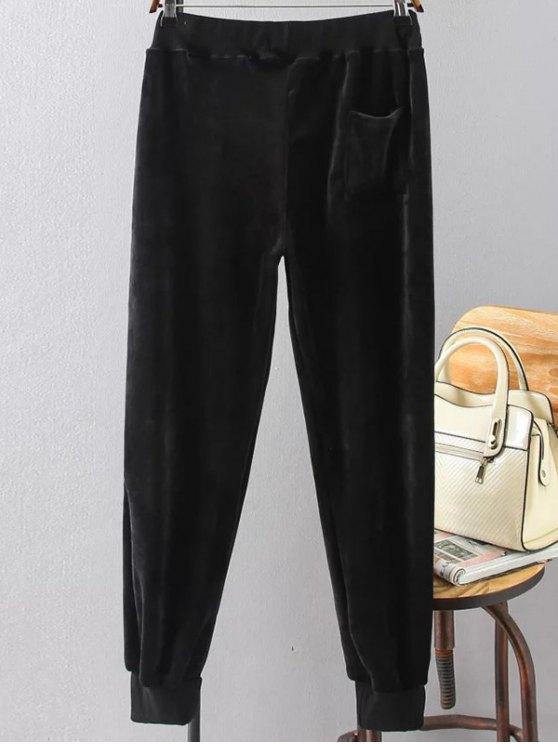 Plus Size Velvet Jogging Pants - BLACK XL Mobile