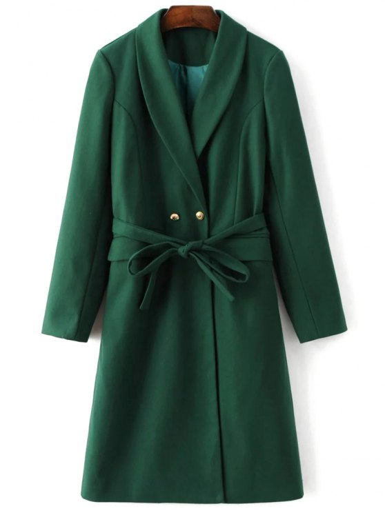 shops Wool Blend Shawl Coat - GREEN M