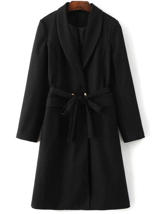 Wool Blend Shawl Coat - BLACK M Mobile