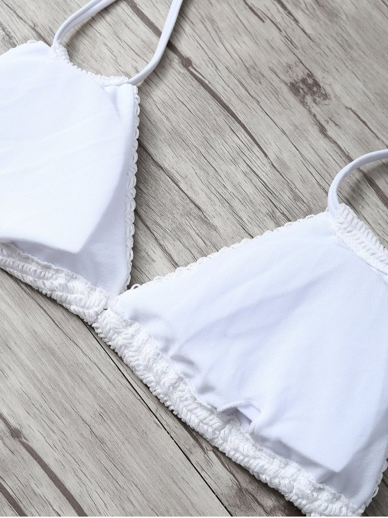Padded Leaf Print Bikini - WHITE S Mobile