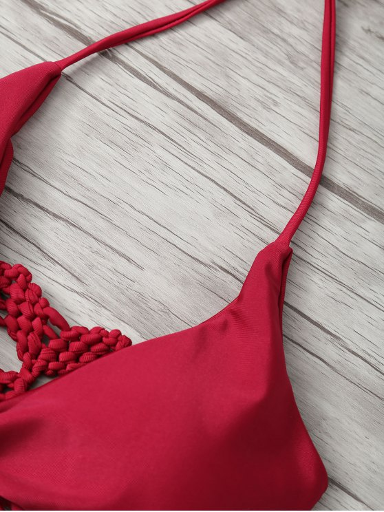 Tie-Dyed Knotted Bikini Set - RED L Mobile
