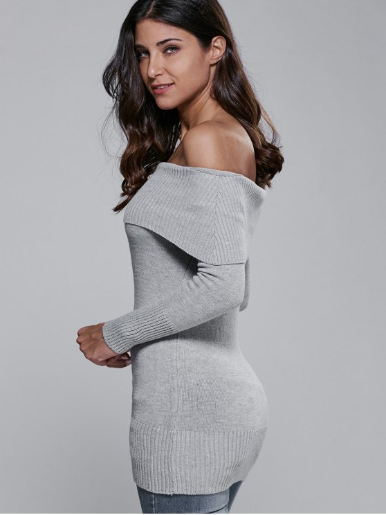 Off The Shoulder Slimming Sweater Dress - GRAY ONE SIZE Mobile