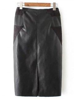 PU Leather Patchwork Midi Pencil Skirt - Black S