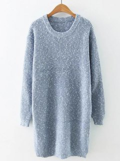 Preppy Style Fitted Warm Long Sweater - Light Blue