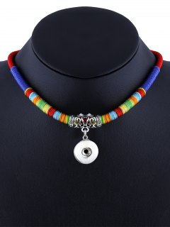 Ethnic Rope Pendant Necklace - Red