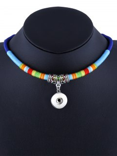 Simple Ethnic Rope Necklace - Blue