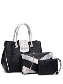 Color Spliced Embossed Metal Tote Bag - Black
