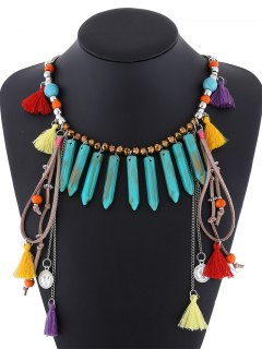 Resin Layered Fringe Necklace - Turquoise
