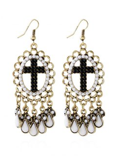 Bohemian Beads Water Drop Crucifix Earrings - Black