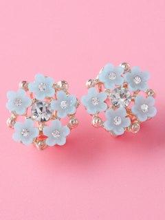 Rhinestone Flower Adorn Earrings - Gray
