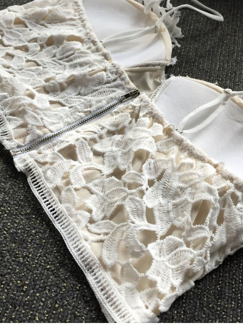 outfit Lace Bralette Top and Shorts - WHITE L Mobile