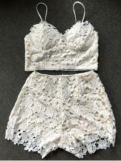shop Lace Bralette Top and Shorts - WHITE S Mobile