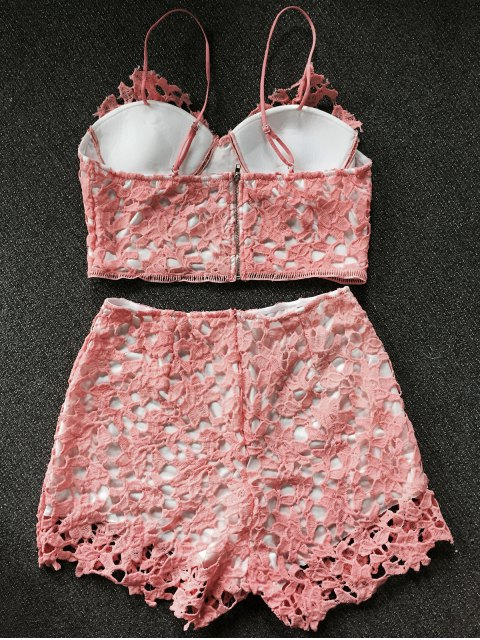 trendy Lace Bralette Top and Shorts - ORANGEPINK S Mobile