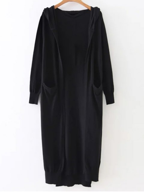 outfit Hooded Duster Cardigan - BLACK ONE SIZE Mobile