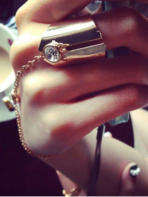 trendy Geometry Rhinestone Charm Ring - ROSE GOLD  Mobile