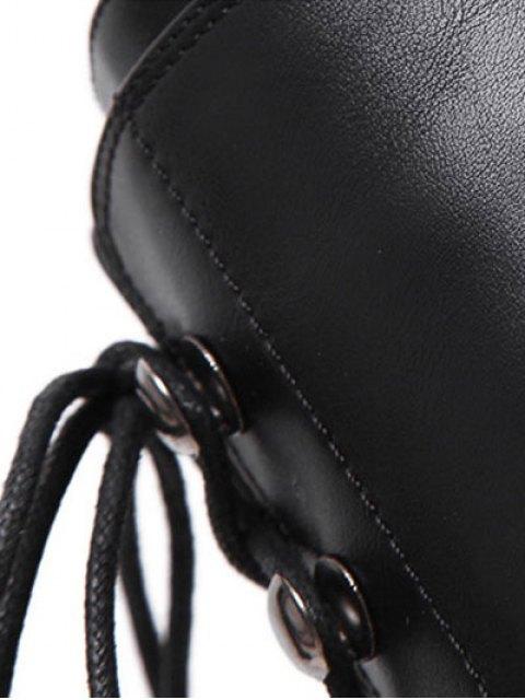 unique Buckle Platform Lace-Up Mid-Calf Boots - BLACK 39 Mobile