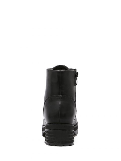 womens Tie Up PU Leather Chunky Heel Ankle Boots - BLACK 37 Mobile