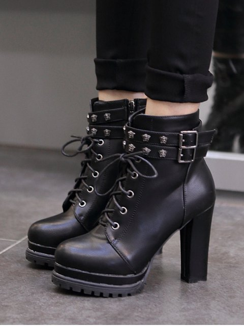 new Double Buckle Lace-Up Metal Ankle Boots - BLACK 38 Mobile